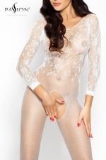 Combinaison Romantic Passion - Combinaison sexy à manches longues en résille brodée, un écrin qui offre l'essentiel de votre beauté.