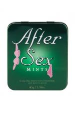 Bonbons pénis After Sex Mints - Bonbons à la menthe en forme de pénis dans une adorable boite verte en métal avec visuel en relief.