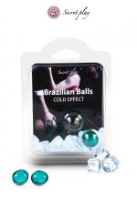 2 Brazilian Balls effet frais  - La chaleur du corps transforme la brazilian ball en liquide glissant à effet frais, votre imagination s'en trouve exacerbée.