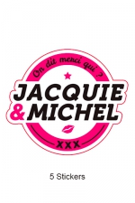 Pack 5 stickers J&M n°1 - Pack de 5 Stickers blancs Jacquie & Michel  (dimensions 8.1 x 7 cm) à coller où vous voulez.
