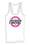 Débardeur homme J&M blanc - Marcel pour homme avec gros logo J&M sur la poitrine, issu de la collection officielle Jacquie & Michel.