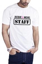 T-shirt Jacquie et Michel Staff - blanc - T-shirt humoristique Jacquie et Michel STAFF, en blanc, pour impressionner votre entourage !