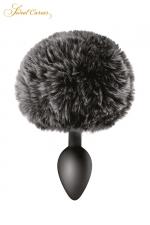 Plug queue de lapin - noir - Un plug anal élégant et original avec son pompon noir en fourrure synthétique fixé à son extrémité.