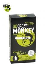 12 Préservatifs Crazy Monkey Menthe Fraiche - 12 préservatifs verts, gout menthe, cylindriques, lisses et lubrifiés, par Crazy Monkey.